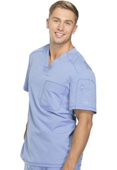 Dickies Dynamix Men's V-Neck Top in Ciel Blue from Dickies Medical Scrubs Outfit, Scrubs Uniform, Men In Uniform, Medical Uniforms, Hospital Uniforms, Uniform Design, Medical Scrubs, Pants Outfit, V Neck Tops