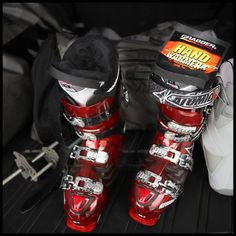 Tip: Pre-heated boots make for happy toes in ski boots. #outdoorhack