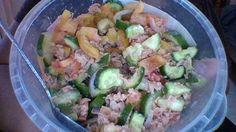 Tuna, cucumber, tomato and onion salad with apple cyder and  olive oil.