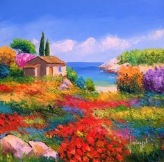Palette knife oil paintings of French landscapes . Jean Marc Janiaczyk Landscape Painting with palette knife. landscape of Provence; Scenery Paintings, Colorful Paintings, Beautiful Paintings, French Paintings, Beautiful Scenery, Landscape Art, Landscape Paintings, Landscape Photos, Art Atelier