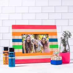 Give your plain picture frame and milk jars a touch of bold neon color with this fun craft. Use FolkArt Multi-Surface to decorate your home with a pop of color and style! Painted Picture Frames, Neon Painting, Jar Crafts, Neon Colors, Decorating Your Home, Milk Jars, Color Pop, Folk Art, Manualidades