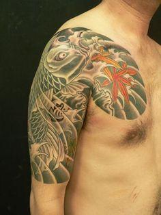 太鼓,五分袖,鯉,紅葉のタトゥーデザイン|タトゥーナビ