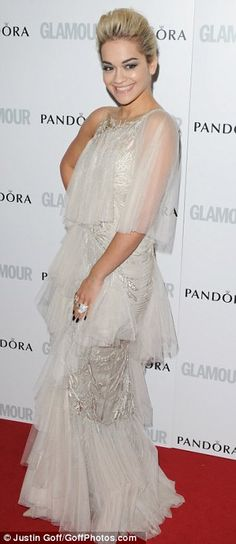Shade of grey: Rita Ora and Amanda Holden sported stone-coloured dresses as they arrived on the red carpet at the Glamour Women Of The Year Awards