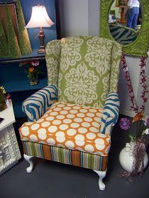 to do: find cheap wing back chair, reupholster thusly Patio Chair Cushions, Chair And Ottoman, Upholstered Chairs, Wingback Chair, Blue Dining Room Chairs, Leather Dining Room Chairs, Wing Chairs, Love Chair, Love Seat