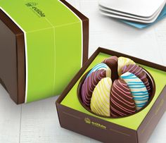 Unique Easter Gift for the perfect basket - A shareable treat for everyone to enjoy, our Gourmet Shareable® Caramel Apple – Happy Spring is a fresh way to celebrate the season! Each deliciously fresh apple slice is covered in scrumptious caramel, dipped in gourmet semisweet or white chocolate, and decorated with eye-catching pink, purple, yellow, and blue Swizzle®. Thanks to a tasty combination of flavors, this treat will WOW with every bite!