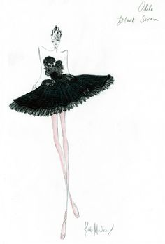 "This artist sketch courtesy of Rodarte shows the sketch by Kate and Laura Mulleavy, of Rodarte, for the ""Black Swan"" ballet costume from the film ""Black Swan."" (AP Photo/Rodarte)"