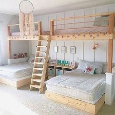 I love this room by messick It seriously makes me wish I could be a kid again! Well maybe just for the day! 🤔😂 These bunk beds are amazing and how adorable is that dream catcher h is part of Bunk bed rooms - Bed For Girls Room, Girl Room, Girls Bedroom, Bedroom Decor, Bedroom Ideas, Cute Beds For Girls, Cool Rooms For Kids, Bedroom For Kids, House Beds For Kids