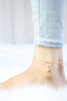 Gold Anklet - Ankle Bracelet - Delicate Jewelry - Beach Anklets - Delicate Anklet - Boho Anklet - Om Anklet - Anklets For Women - Minimal