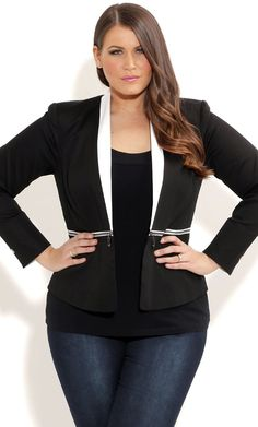 City Chic - ZIP CONTRAST JACKET - Women's plus size fashion