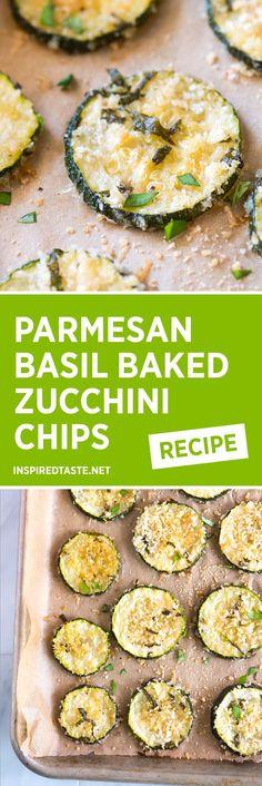 Parmesan Basil Baked Zucchini Chips