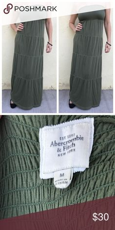 Long GREEN MAXI DRESS COTTON STRAPLESS tall m/l Easy casual statement dress. Long MAXI dress by ABERCROMBIE AND FITCH. With smacking at bust so it fits to your body. Marked as a M, fits a L as well. Full length, strapless, and lined! Tiered skirting. Olive green. Great for weekend adventures. N24 Abercrombie & Fitch Dresses Maxi