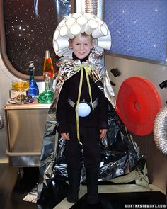 Every alien needs protective garb on Halloween night, and this high-tech helmet, light-saucer belt, and silver cape will give your little alien all the special powers he needs. While the array of gadgets may look high-tech, they're actually made from decidedly low-tech items, most of which can be obtained at local supermarkets.