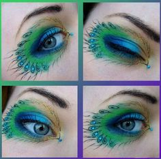 Peacock inspired dramatic eye makeup ideas that I know you will like ;) If you want to try a different eye makeup look, maybe you can skip your usual smoky eye makeup, and try some a little more impressive. Peacock Eye Makeup, Dramatic Eye Makeup, Dramatic Eyes, Eye Makeup Tips, Makeup Ideas, Skin Makeup, Maquillage Halloween, Halloween Makeup, Peacock Halloween Costume