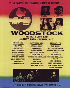 Show off you hippie side with the buyartforless Woodstock Line Up 1969 Poster Wall Art . Brighten any space with this vibrantly hued reproduction of. Woodstock Poster, Woodstock Music, Woodstock Concert, 1969 Woodstock, Woodstock Festival, Woodstock Lineup, Beatles, Granola, The Family Stone
