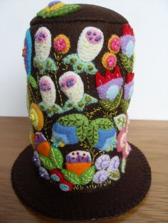 Colourful Floral Felt Pincushion by ThatPincushionPlace on Etsy