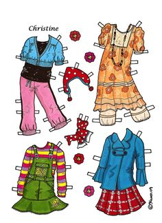 Karen`s Paper Dolls: Christine 1-4 Paper Doll to Print in Colours. Christine 1-4…