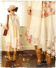 cawaii mori dress designed by kuribayashi: inspiration to repurpose / refashion vintage fabric and linens.