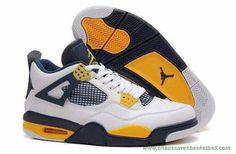timeless design 121a6 f665d chaussures basketball 375116-247 Blanc Bleu Jaune Marquette AIR JORDAN 4  RETRO Hommes