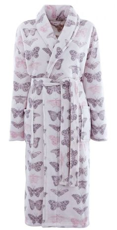 a36924e998 Catherine Lansfield Pastiche Butterflies Butterfly Bathrobe Dressing Gown