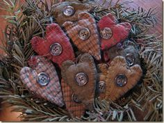 Hand made rustic Christmas ornaments.