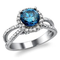 18k White Gold Round Blue Diamond Engagement Ring -