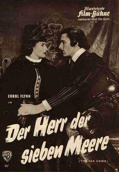 THE SEA HAWK (1936) - Errol Flynn & Brenda Marshall - Directed by Michael Curtiz - Warner Bros. - German movie magazine cover.