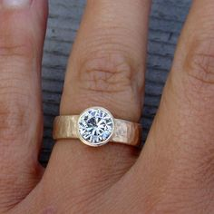 Related items like Moissanite Wedding, Engagement or Right Ring - Always a G-H I Moissanite with Recycled Yellow Gold, Hammered, Made to Order on Etsy - Wedding Rings - Engagement Rings Thick Band Engagement Ring, Silver Engagement Rings, Wedding Engagement, Oval Engagement, Engagement Jewelry, Titanium Wedding Rings, Wedding Ring Bands, Wedding Jewelry, Gold Jewelry