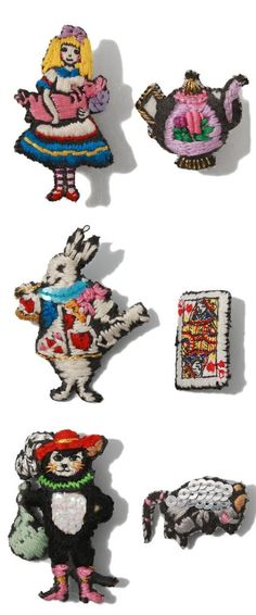 """Alice in Wonderland and other fairy tale embroideries by Japanese artist Mao Numata (aka """"tamao"""") http://www.tamao-world.com/news/"""