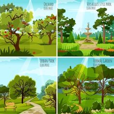 Garden landscape 2x2 design concept set of orchard urban park and versatile garden with fountain and alleys flat vector illustrati