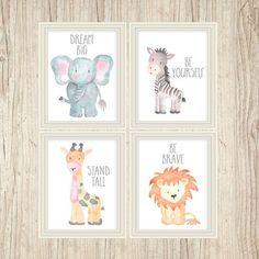 Safari Nursery Art Animal Paintings Baby Animal Prints Animal Watercolor…