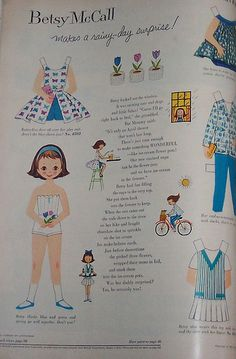 1959 Betsy McCall Paper Doll. I could hardly wait for mother to get a new magazine, so that I could cut out the Betsy paper doll! ( I didn't get to cut this one out, I was only a year old.)
