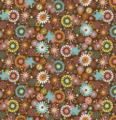 Bonita tela de flores modernas en tonos burdeos, marrón, turquesa, mostaza y naranja.