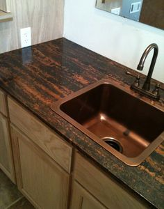 Love this copper counter top and sink simple yet elegant my is one of images from copper sheets for countertops. Find more copper sheets for countertops images like this one in this gallery Copper Countertops, Butcher Block Countertops, Laminate Countertops, Countertop Materials, Concrete Countertops, Kitchen Countertops, Epoxy Concrete, Kitchen Backplash, Countertop Kit
