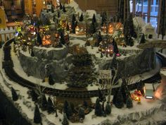 Christmas Village display. I like how they used layers to give it more interest & let you see everything a little better.