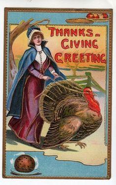 T411 Thanksgiving Greeeting Postcard Embossed Pilgram Turkey Gold Highlights | eBay