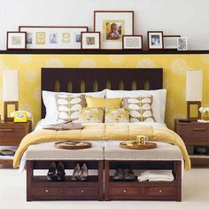wasn't really sure if yellow and gray would go with my big dark brown wood bed and night stands. This makes me happy!!