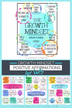 Positive Affirmations for Kids-Printable Growth Mindset Notes & Poster - The Kitchen Table Classroom Positive Affirmations For Kids, Positive Mantras, Affirmations Positives, Daily Affirmations, Guided Mindfulness Meditation, Mindfulness For Kids, Lunchbox Notes For Kids, Lunch Notes, Childrens Yoga