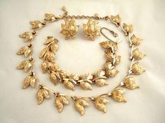 Monet Gold Choker Necklace Earrings & Bracelet by JewelrybyIshi