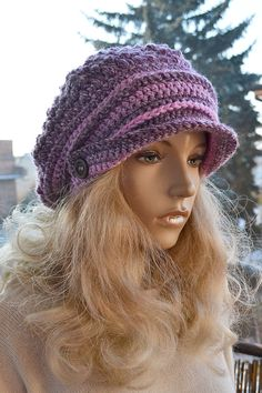 Purple and dark purple  Crocheted  PEAKED CAP by DosiakStyle