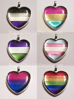 LGBTQ+ Orientation and Identity Pride Foil Heart Necklaces Marceline, Pansexual Pride, Lesbian Pride, Genderqueer, Lgbt Community, Heart Necklaces, Heart Jewelry, Resin Jewelry, Jewlery
