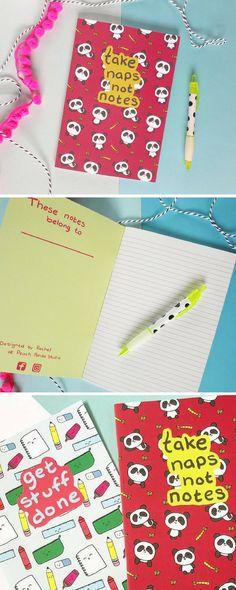Found on Etsy - kawaii panda notebook! Panda Notebook, Panda Notepad, Kawaii Stationery, Animal Journal, Bamboo Print, Writing Paper, Take Naps Not Notes, Panda Stationery, Jotter. Lovely gift. Ships worldwide! #etsy #etsyfinds #stationery #affiliate #ad