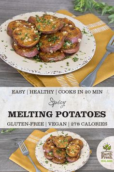 These Spicy Melting Potatoes will dress up your dinner table. EASY. HEALTHY. COOKS IN 20 MINUTES. GLUTEN-FREE. VEGAN. DAIRY-FREE. RECIPE. FOOD. POTATOES. EARTHFRESH. Roasted Potato Recipes, Roasted Potatoes, Side Dish Recipes, Side Dishes, Vegan Gluten Free, Dairy Free, Appetizer Recipes, Appetizers, Dinner Table