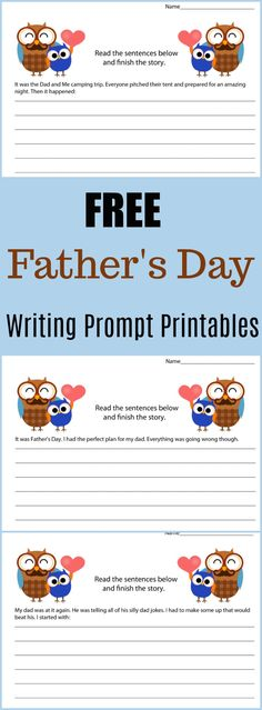 Free Father\'s Day Writing Prompt Printables - #writing #writingprompt #holiday #printable #freeprintable #education #edchat #homeschool #homeschooling #fathersday