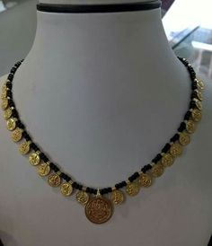 Different Style Black Dori Necklaces Jewelry Design Earrings, Gold Earrings Designs, Coin Jewelry, Gold Jewellery Design, Beaded Jewelry, Gold Designs, Coin Necklace, Necklace Designs, Indian Wedding Jewelry