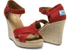 Red Canvas Women's Strappy Wedges MUST HAVE STAT.
