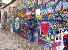 John Lennon Wall, hidden away on a side street across from the French Embassy. After John Lennon's death on 08-12-1980 Lennon inspired graffiti (+lyrics) sprouted up on a wall surrounding the compound of the Knights of Malta. The wall represented free expression and every time is was painted over it  it sprang back up overnight. Students and police clashed over the wall; ironically it was Lennonists vs. Leninists. Address: Velkopřevorské náměstí, 100 00 Praha 1