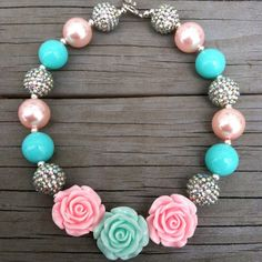 Mint/Light Pink Triple Rose Sparkle Shabby Chic Chunky Bubblegum Necklace