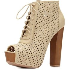 Charlotte Russe Nude Laser Cut Peep Toe Booties by Charlotte Russe at... ($20) ❤ liked on Polyvore featuring shoes, boots, ankle booties, heels, sapatos, lace up chunky heel booties, heeled oxfords, thick heel booties, chunky heel booties and heeled booties
