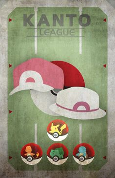 Pokemon Kanto League - Pikachu, Charmander, Bulbasaur, Squirtle