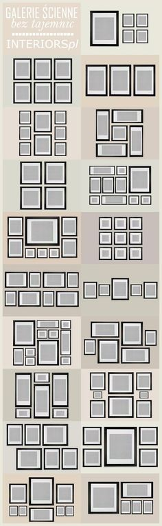 DIY:  Gallery Wall Arrangement Ideas - plus many other guides, such as yardage guides for upholstered furniture, window treatment & terminology guides, area rug size guides, etc. This is an excellent resource!!!